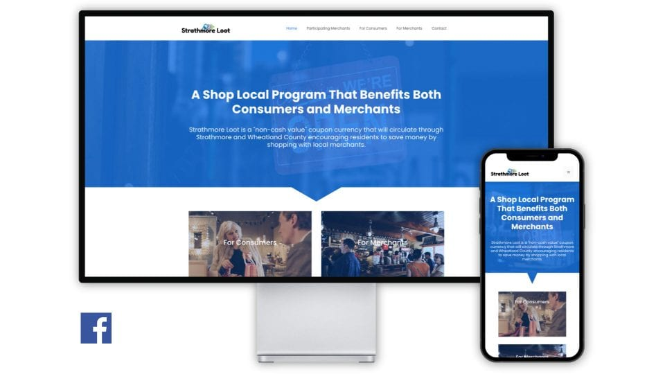The Strathmore Loot website displayed in a desktop monitor and mobile phone to demonstrate that all Assist Business Websites are built responsive so they will look great and operate on all screen sizes.